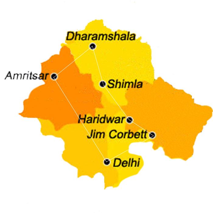 15-days-himalaya-tour-with-corbett-n-golden-temple-map