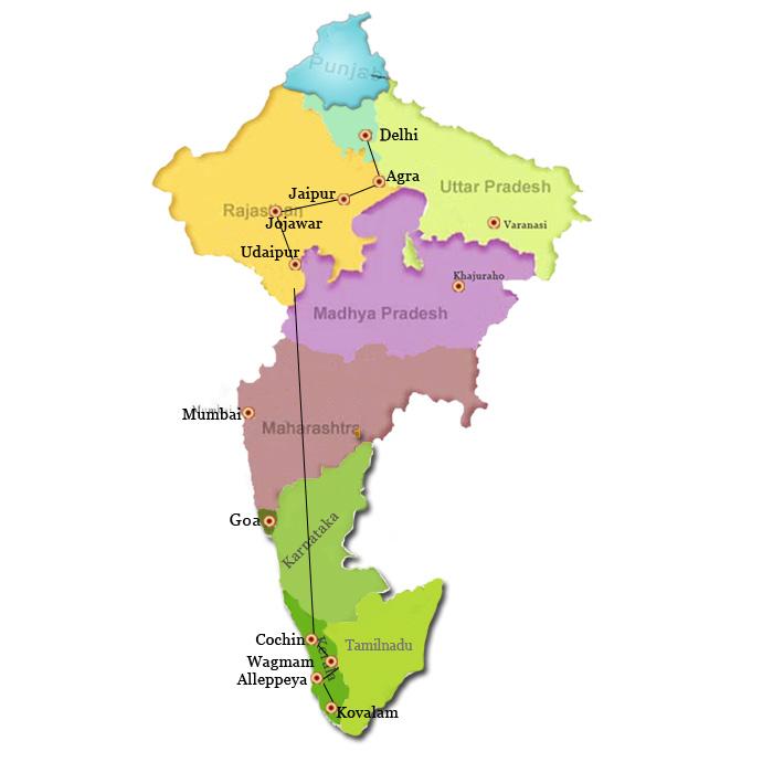 16-days-rajasthan-haritage-n-kerala-backwater-tour-tour-map