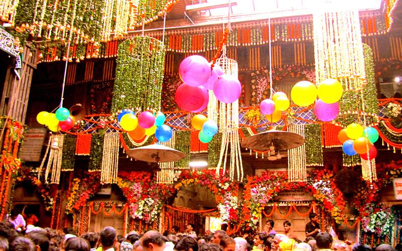 holi at banke bihari temple, vrindavan india