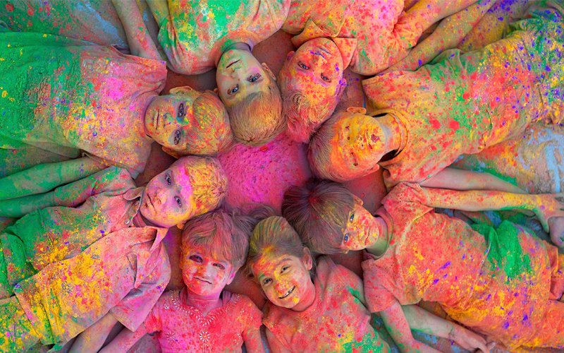 holi procession in mathura india