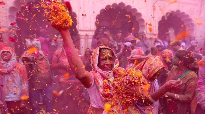 dowagers holi-mathura-vrindavan-india